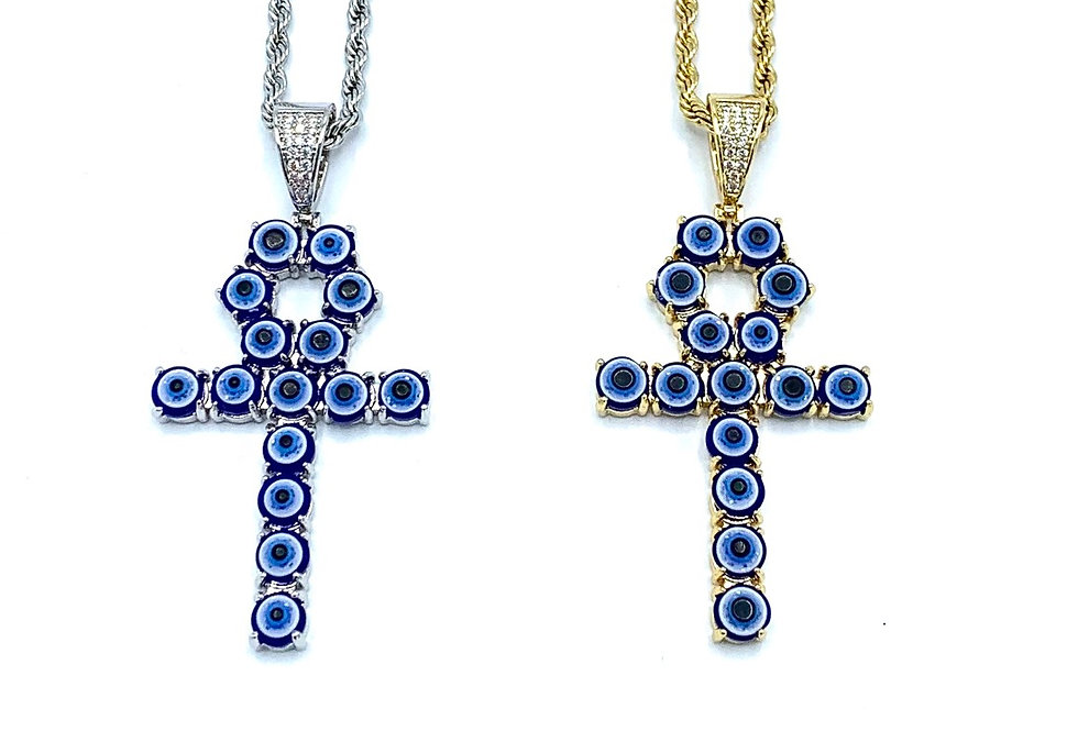 Stainless Steel Ankh Evil Eye of Protection