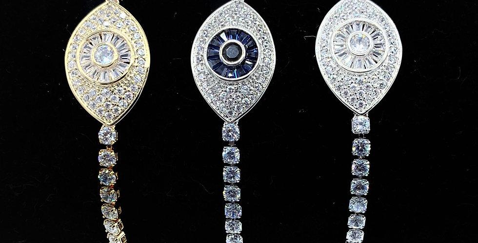 Sterling Silver Evil Eye of Protection Bracelet
