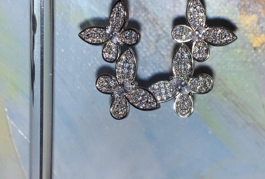 Sterling Silver Triple Butterfly Earrings