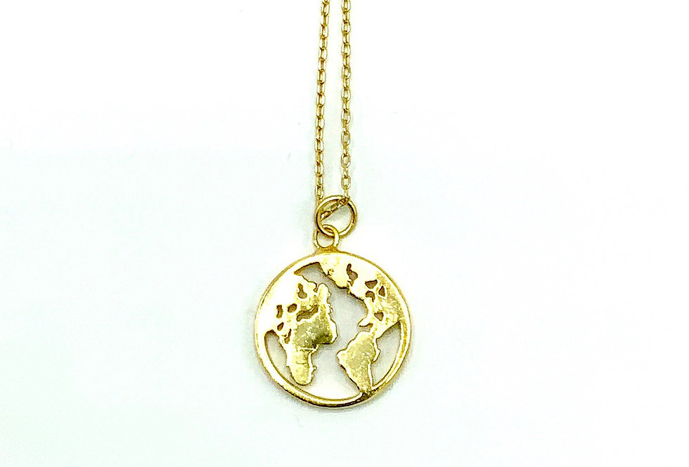 """Gold-Plated Sterling Silver """"Around the World""""Necklace"""