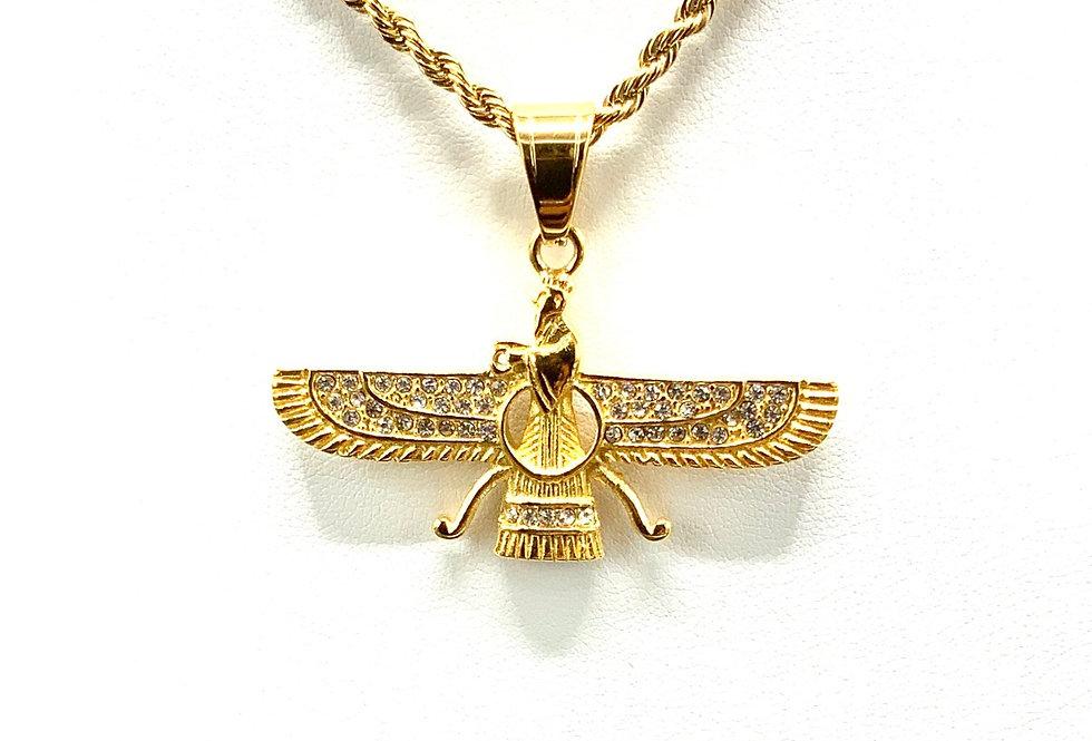 Stainless Steel Ahura Mazda Zoroastrian Farvahar Wing
