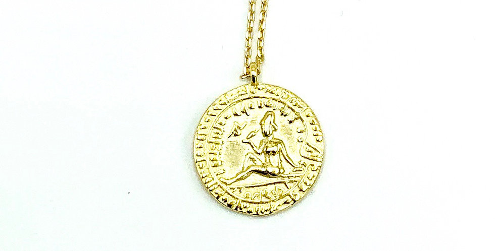 Gold-Plated Portrait Medallion Necklace