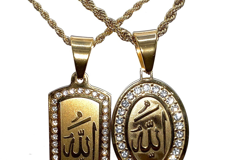 Stainless Steel Gold Allah