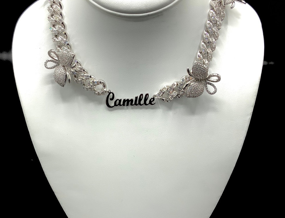 **Custom Icy Butterfly Cuban Link NamePlate