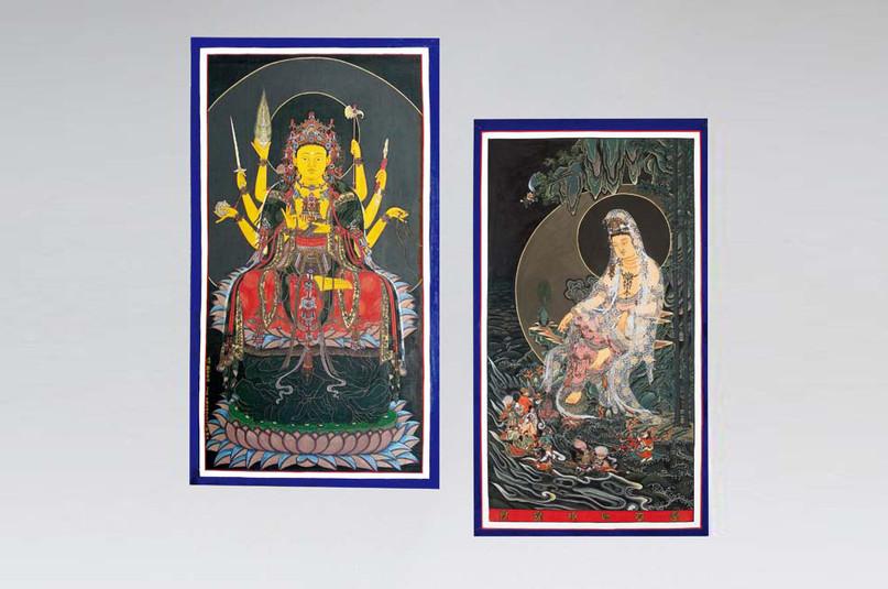 左미륵하생경변상도(彌勒下生經變相圖)  |  右수월관음보살도(水月觀音菩薩圖)