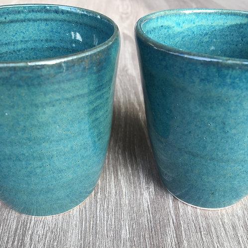 Kopper i smuk blank havblå glasur