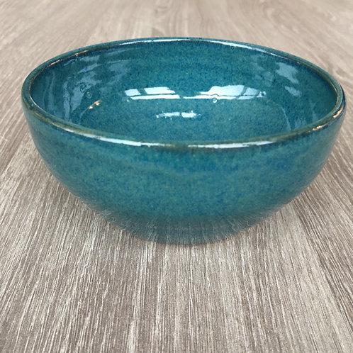 Keramikskål i havblå