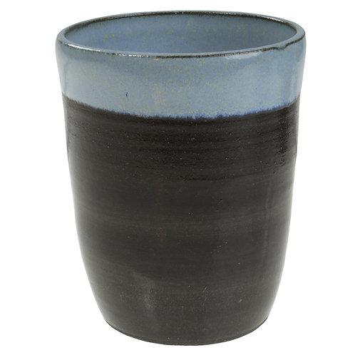 Kop i sort ler - Lyseblå