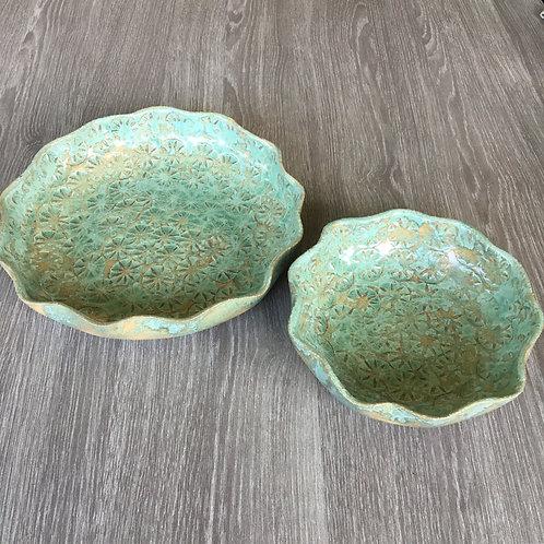 Fade / lave skåle med margurit aftryk