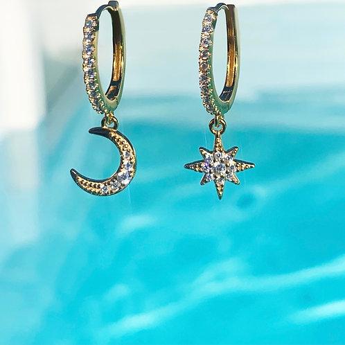 Moon & Star Huggie Earrings