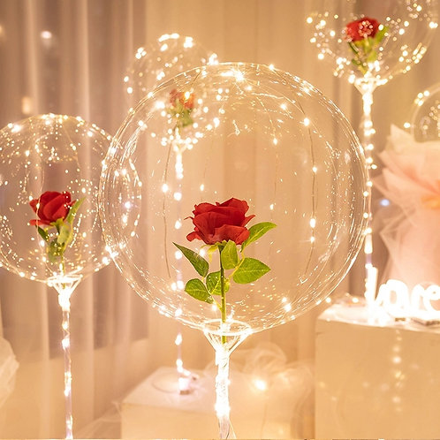 Red Rose Bouquet Bubble Balloon