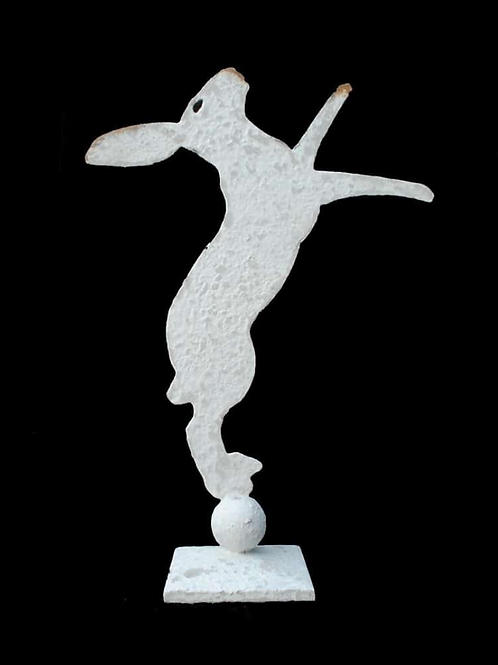 Boxing Hare On Square Decorative Stand