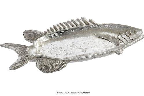 Bandeja en forma de pez plateado