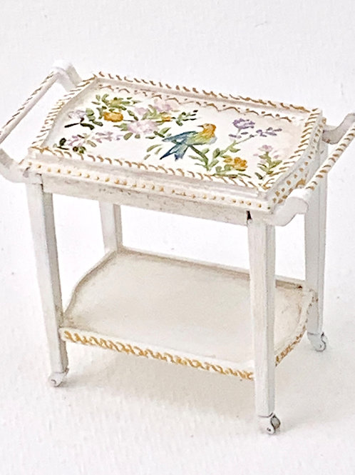 Hand-painted auxiliary trolley in white tones. Birds collection.