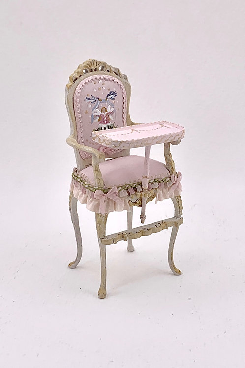 Baby high chair painted by hand in soft pink tones. scale 1.12