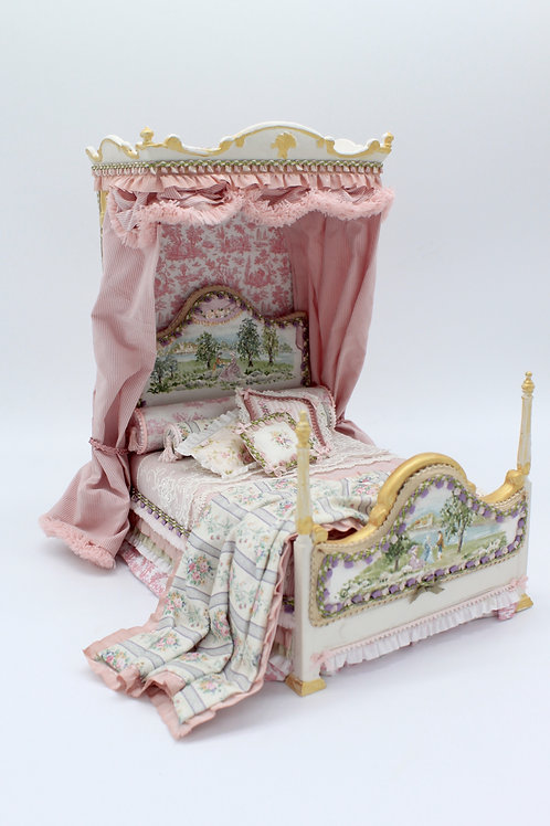 Unique Dollhouse Furniture - Handpainted bed with canopy. Manually upholstered.