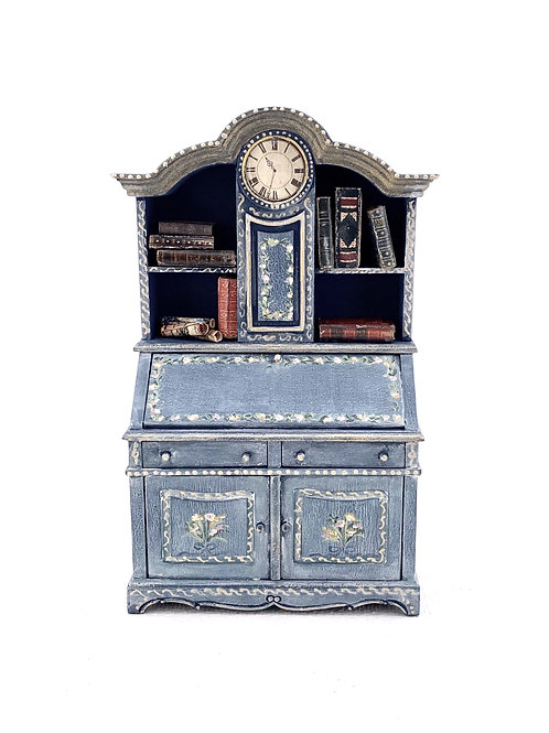 Hand-painted clock  cabinet swedish gustavian style. Scale 1.12