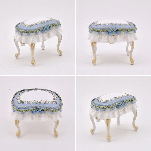 Stool painted by hand in blue with silk trimmings. Scale 1.12