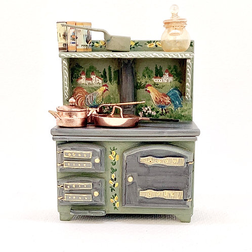Old kitchen stove painted by hand. Tuscany collection. It is sold with all acces