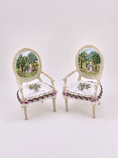 hand-painted chair with arms. Versailles Collection Sold separately, unit price
