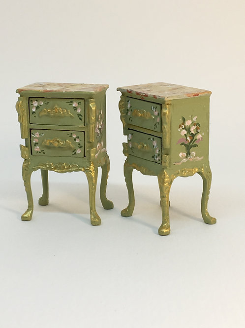 Hand painted night table in green tone . Scale 1.12