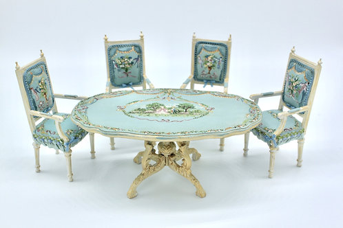 Magnificent dining table painted by hand in blue Versailles with Louis XVI style