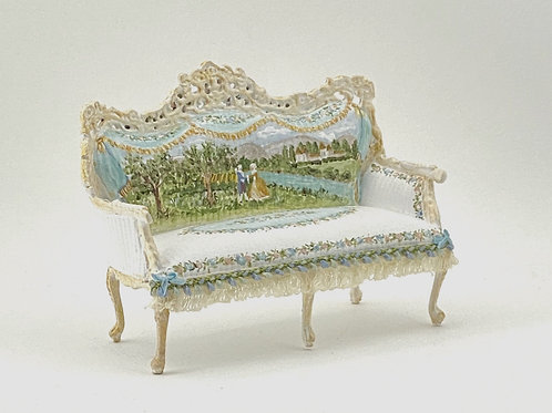 Double handpainted sofa.Collection inspired by the 18th century French gardens.