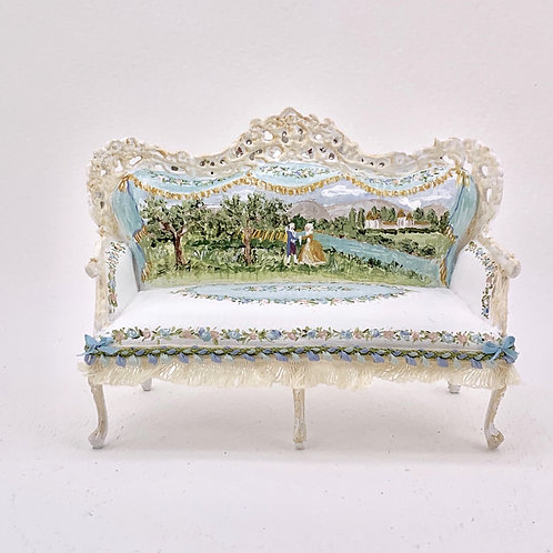Beautiful double sofa hand painted inspiration palace Louis XVI Gardens of Versa