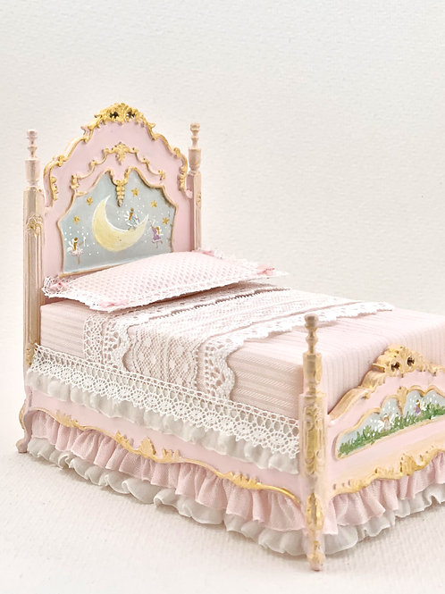 Hand painted girl's bed in soft pink tones