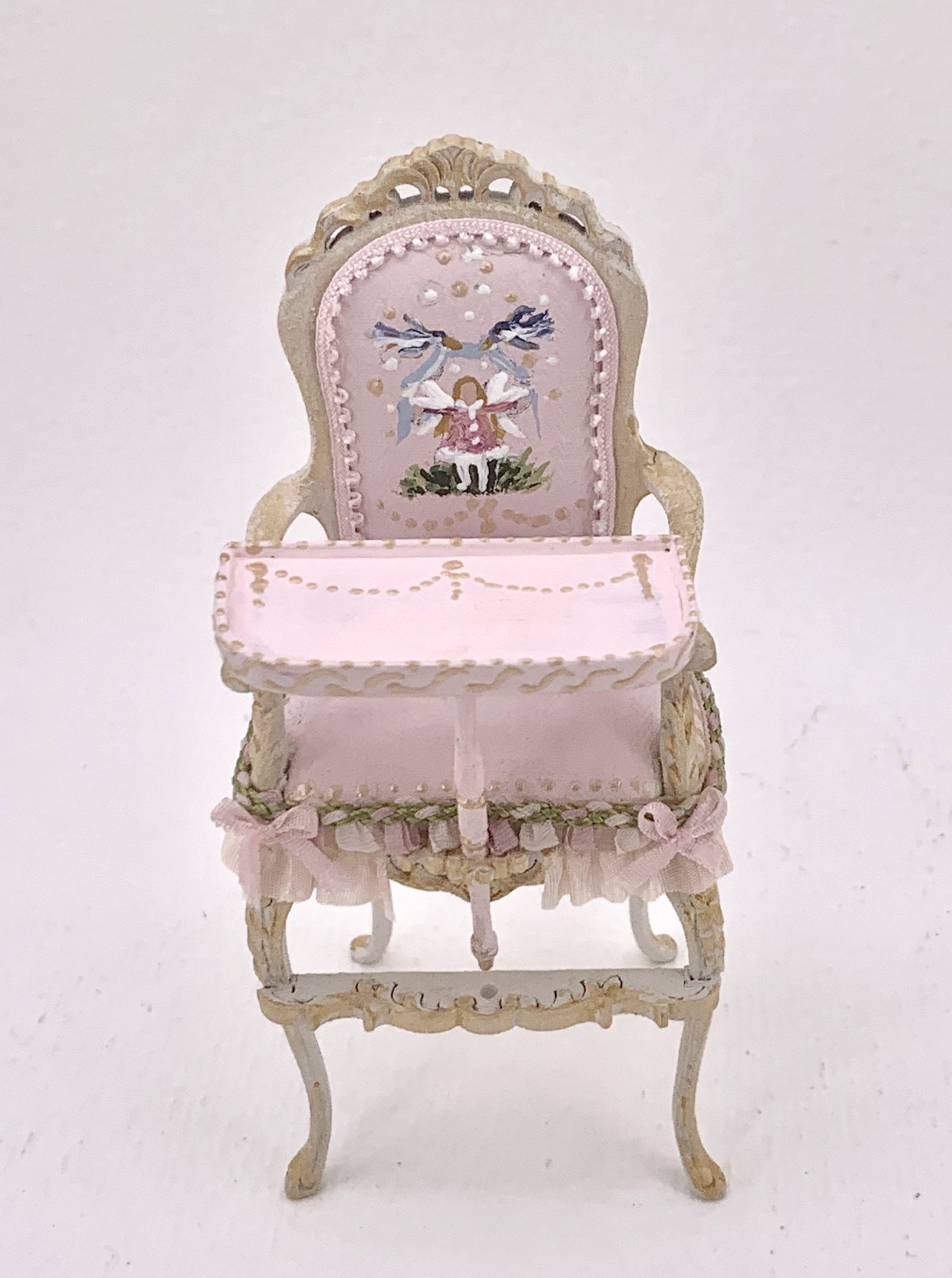 scale 1.12 baby room hand-painted  rocking chair in soft shades of pink and white