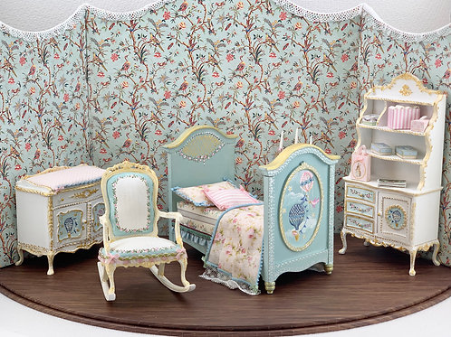 hand-painted baby changing table with air glove motifs