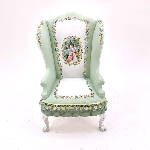 Individual wingchair sofa hand painted in soft green  tones. French style