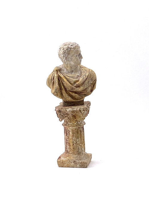 Bust and pedestal hand painted imitating marble.