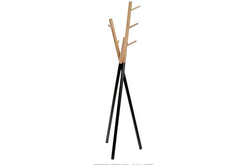 Perchero de madera y metal negro