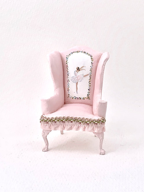 Hand painted wingchair sofa in baby pink tone, dancers collection.