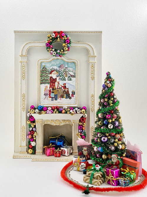 hand-painted fireplace with Christmas motifs