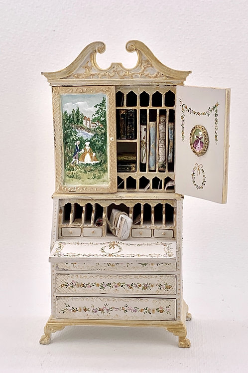 Dollhouse furniture  French style hand-painted desk cabinet scale 1.12 Sold with