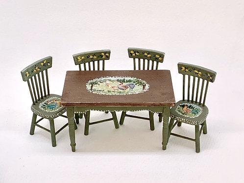 Mesa de cocina pintada a mano y envejecida. Colección Toscana.