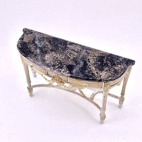 Console painted by hand imitating black marble. 1.12 scale