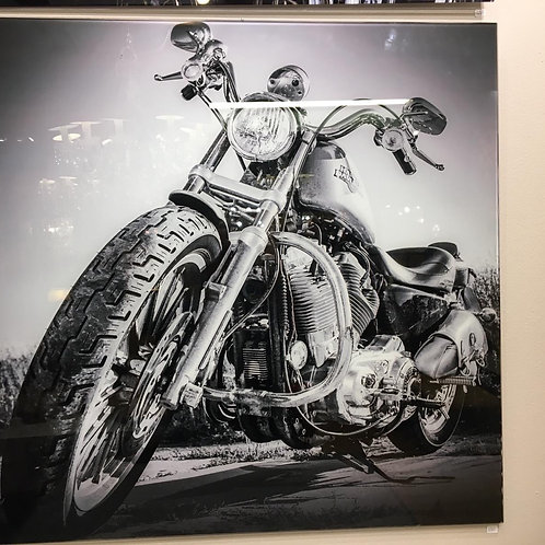 Foto Harley Davinson sobre cristal