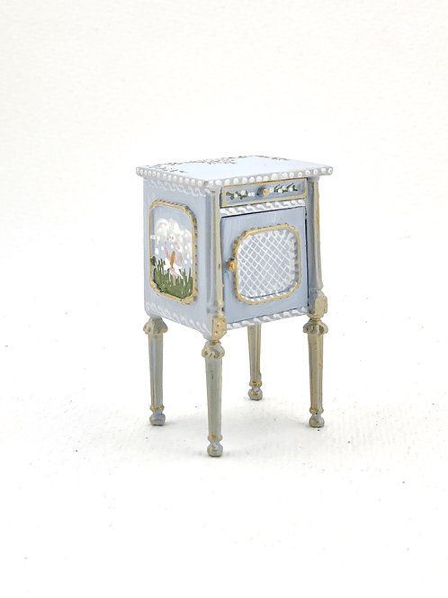 hand-painted child's bedroom bedside table in soft blue tones
