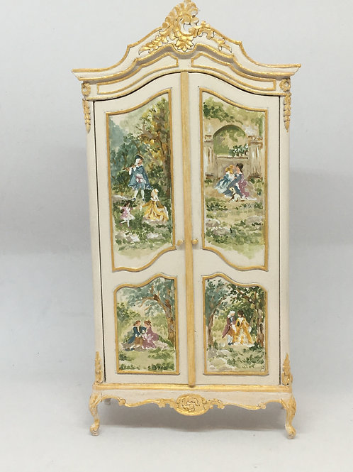 Louis XV style hand-painted wardrobe.Scale 1.12