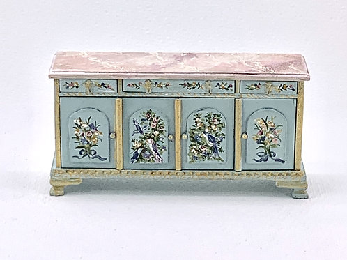 Sideboard furniture hand painted in blue tones with birds and flowers.
