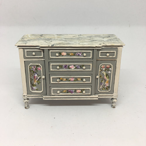 Hand painted auxiliary furniture made with oil paint in gray tones. Scale 1.12