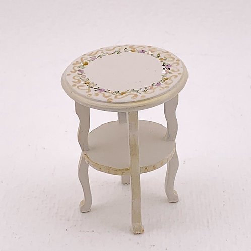 Side table handpainted in beige tones with flowers