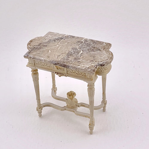 Hand-painted French inspired auxiliary table in beige tones with top imitating m