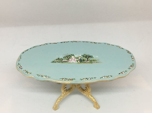 Dining table handpainted in blue tones Louis XV style. Scale 1.12