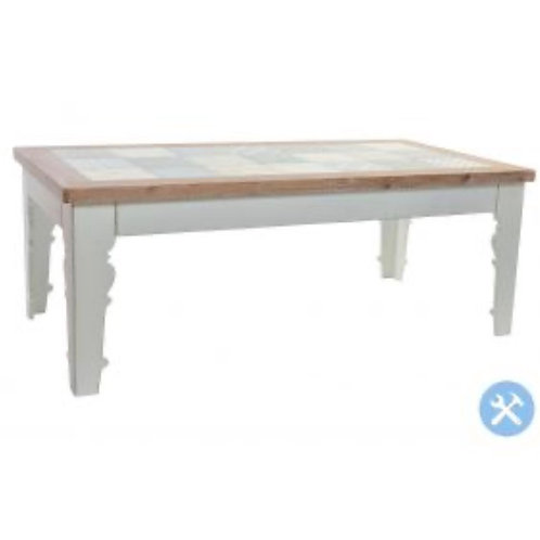 Mesa de cafe madera blanca y azulejo natural