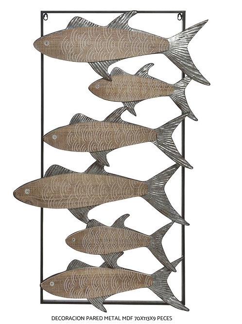 Cuadro de peces de metal envejecido