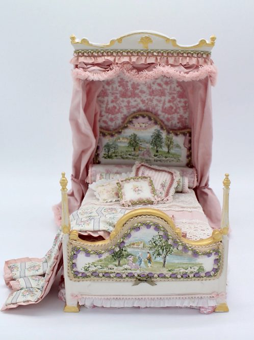 Unique Dollhouse Furniture - Hand painted bed with canopy
